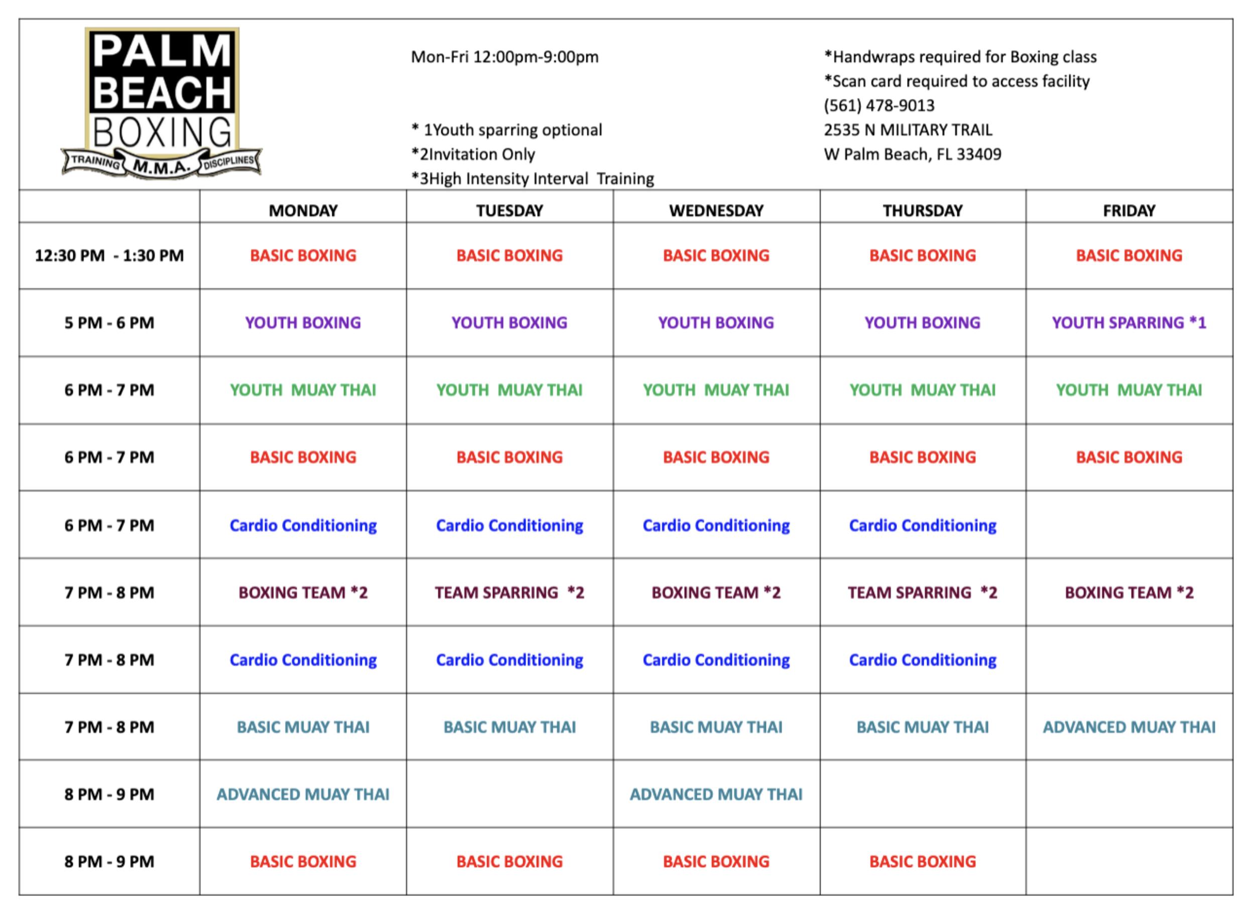 Palm Beach Boxing Class Schedule